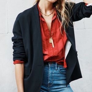 Madewell Embroidered Tassel Camelia Pullover Top